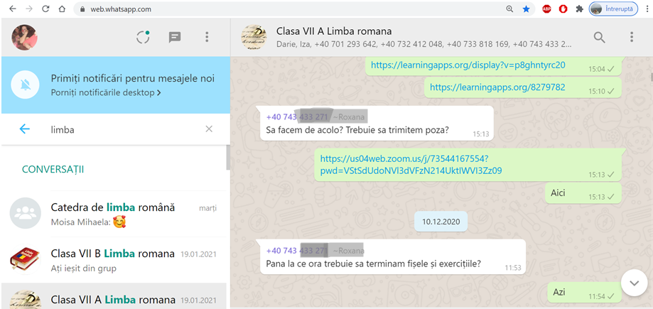 Printscreen whatsapp group with my A VII-th grade students