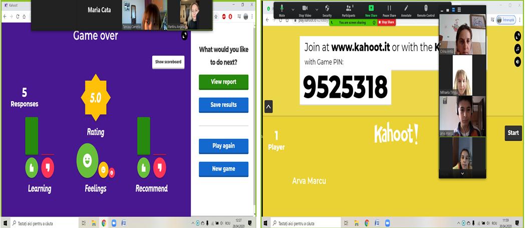 Print screen, Kahoot class and feedback