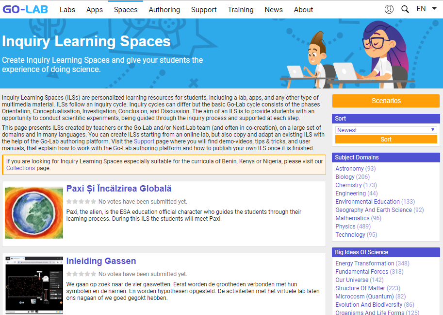 Fig. 3. Spații de învățare existente în Go-Lab [2]