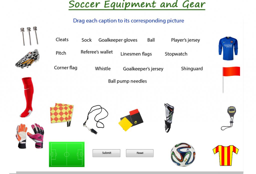 Figure 2. Soccer Equipment and Gear PDF (www.busyteacher.org)