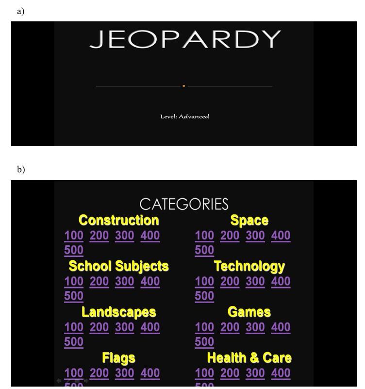 Figure 3. a), b) Jeopardy PPT (Hofman)